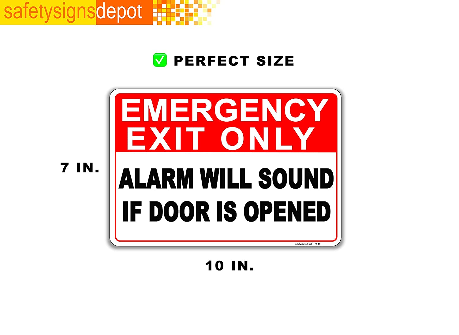 Indoor//Outdoor Adhesive Sticker Signs 7 x 10 UV Protected Emergency Exit Only Alarm Will Sound If Door is Opened Sign Stickers Reflective 2 Pcs Weatherproof