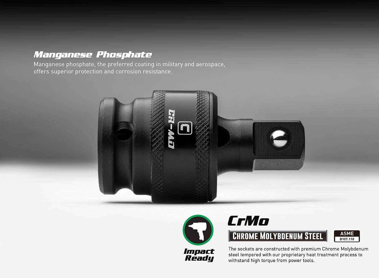 3-Piece 5-8101 Capri Tools Premium Impact Universal Joint Set CrMo