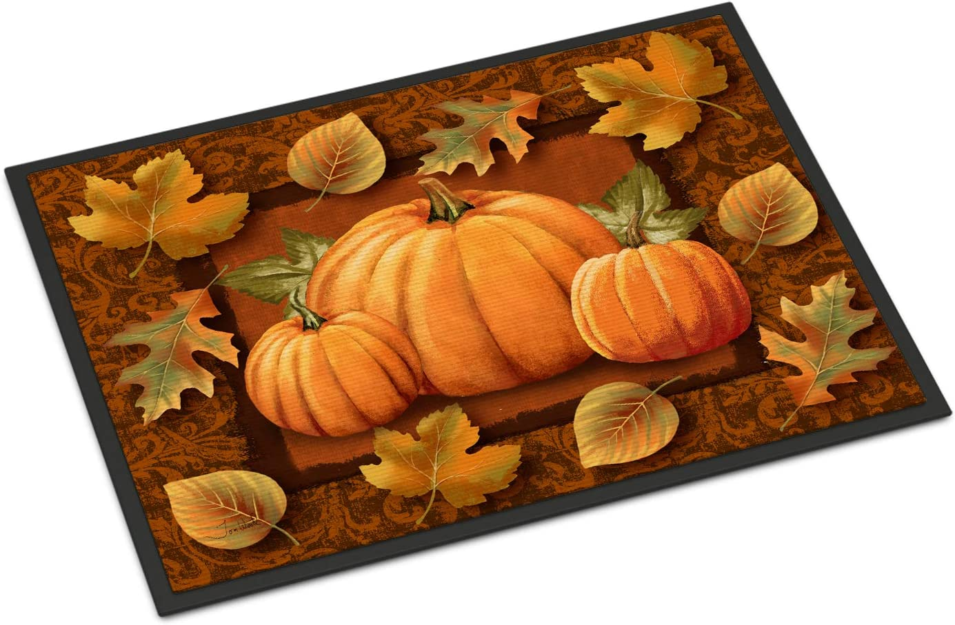 Amazon Com Caroline S Treasures Ptw2009mat Pumpkins And Fall Leaves Indoor Or Outdoor Mat 18x27 18h X 27w Multicolor Caroline S Treasures Home Kitchen