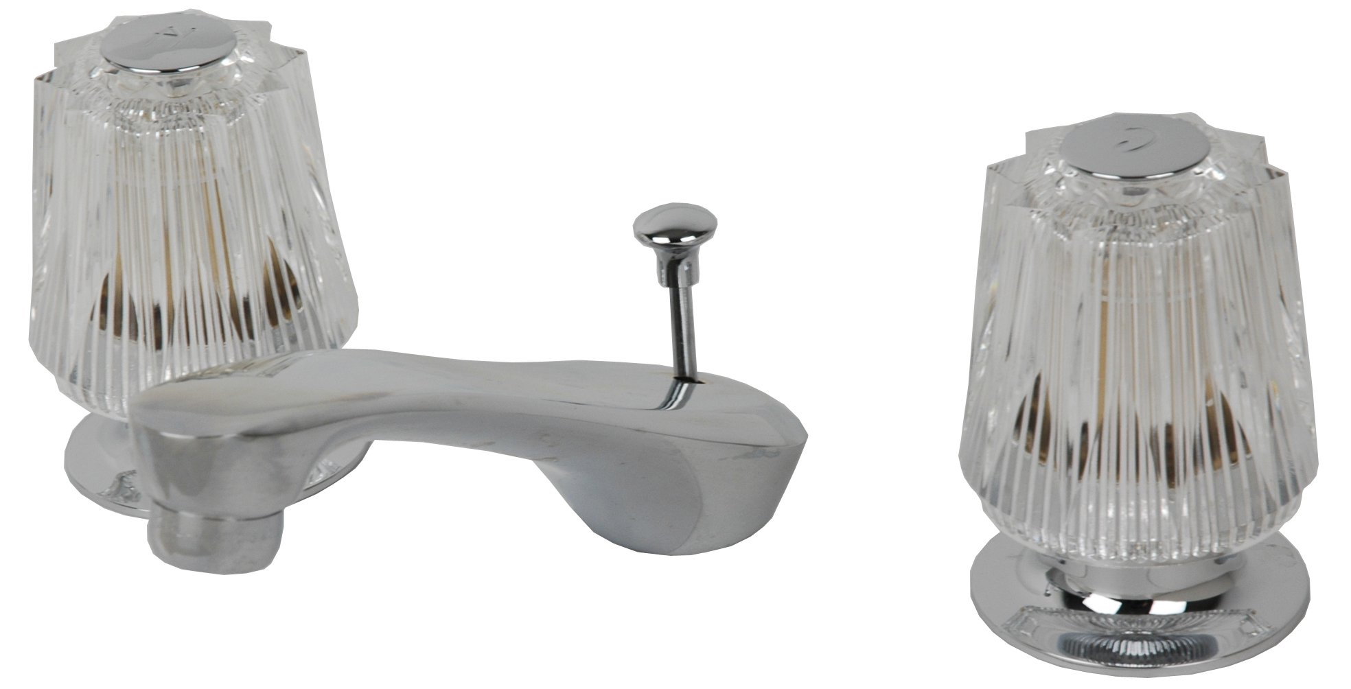 8'' Widespread Lavatory Faucet, Chrome Finish, with Compression Stems- By Plumb USA (Windsor Handle)