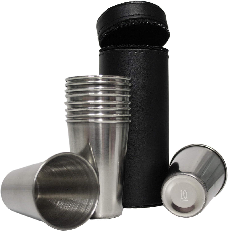 Shooting Peg Position Finder Cup Stirrup Set Black Leather Hip Flask Shot New