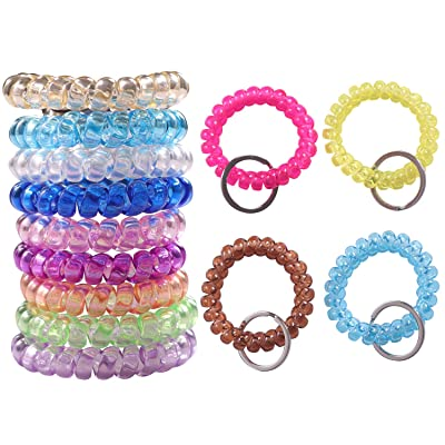 YAKA Wholesale Lot 20pcs Mixed Stretchable Spiral Wrist Coil Key Chains Hot: Toys & Games