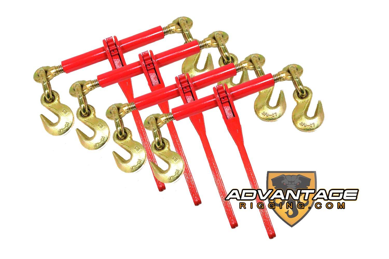 4 Ratchet Load Binders 3/8 -1/2 Boomer Chain Equipment Tiedown
