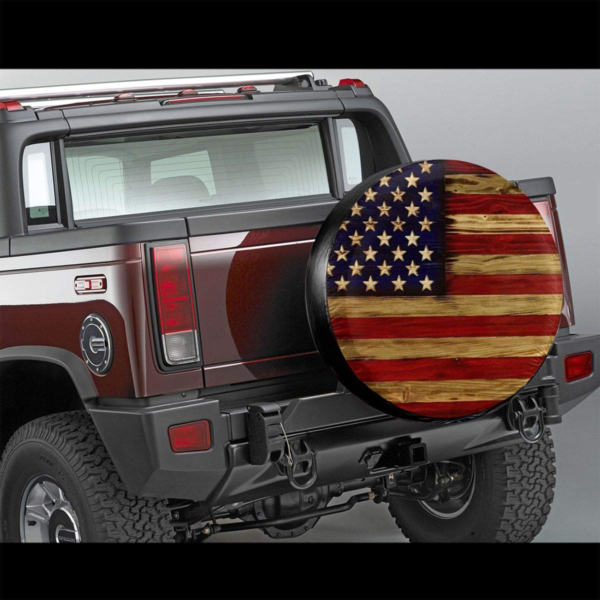 Tire Cover American Flag Reclaimed Wood Potable Polyester Universal Spare Wheel Tire Cover Wheel Covers for Jeep Trailer RV SUV Truck Camper Travel Trailer Accessories 14 Inch