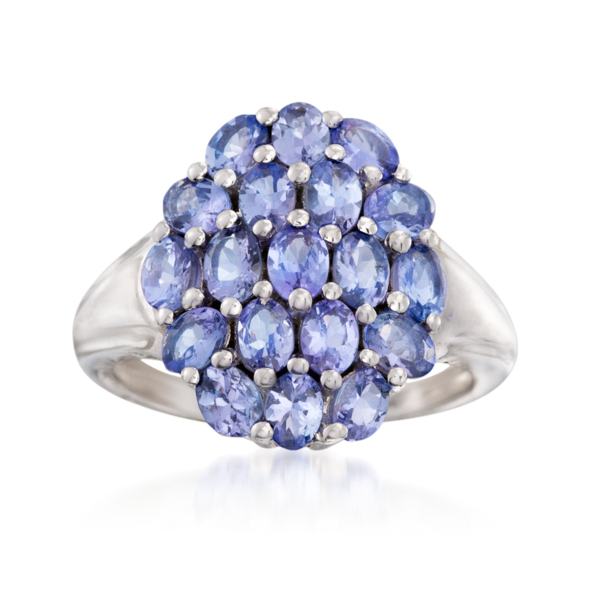 Ross-Simons 3.20 ct. t.w. Tanzanite Cluster Ring in Sterling Silver