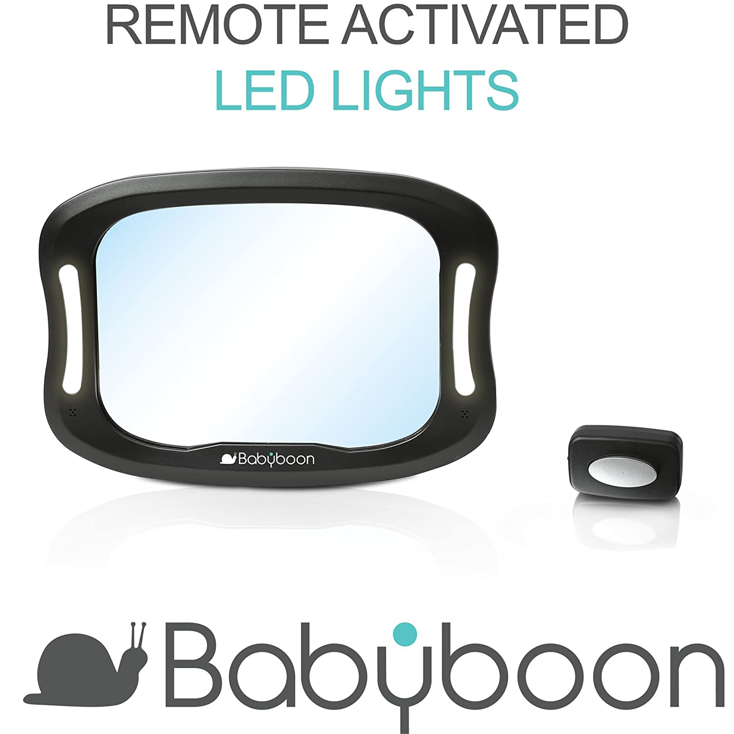 View Child in Rear Facing Car Seat with Superior View /& Clarity 360/° Anti-Wobble Fixing Straps Babyboon Premium Mirrors are Carefully Designed for Safety: Shatterproof Baby Car Mirror LED Light