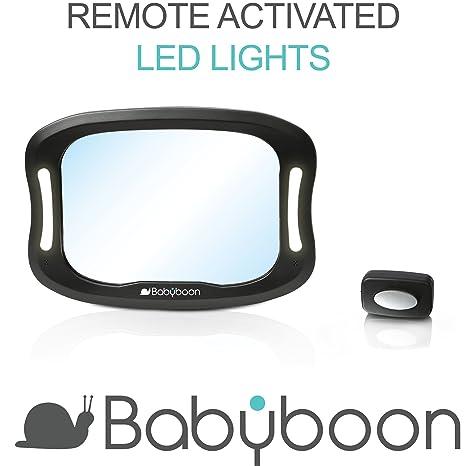 Espejo retrovisor bebé coche Luz LED - Visión excelente de su bebé en asiento trasero a contramarcha.