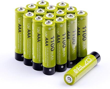 ELZO - Pack 16 Pilas Recargables AAA Ni-MH, 1.2V / 1100mAh Baterías Recargables para los Equipos Domésticos con Estuches de Almacenamiento: Amazon.es: Electrónica