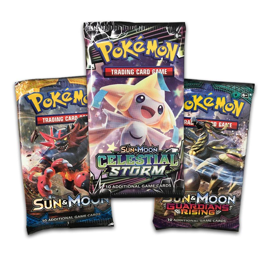 Pokemon TCG: Sun & Moon Celestial Storm - Tapu Koko Blister Pack | 3 Random Booster Packs of 10 Cards Each | Includes Rare Authentic Legendary Alolan Guardian Holofoil Card