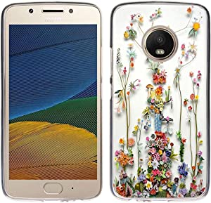 Case for Moto G5 Plus - TPU Flexible Protective Cover Compatible for Motorola 5th Generation for Moto G5 Plus Art of Nature Flower Print (Silicone Bumper Skin)
