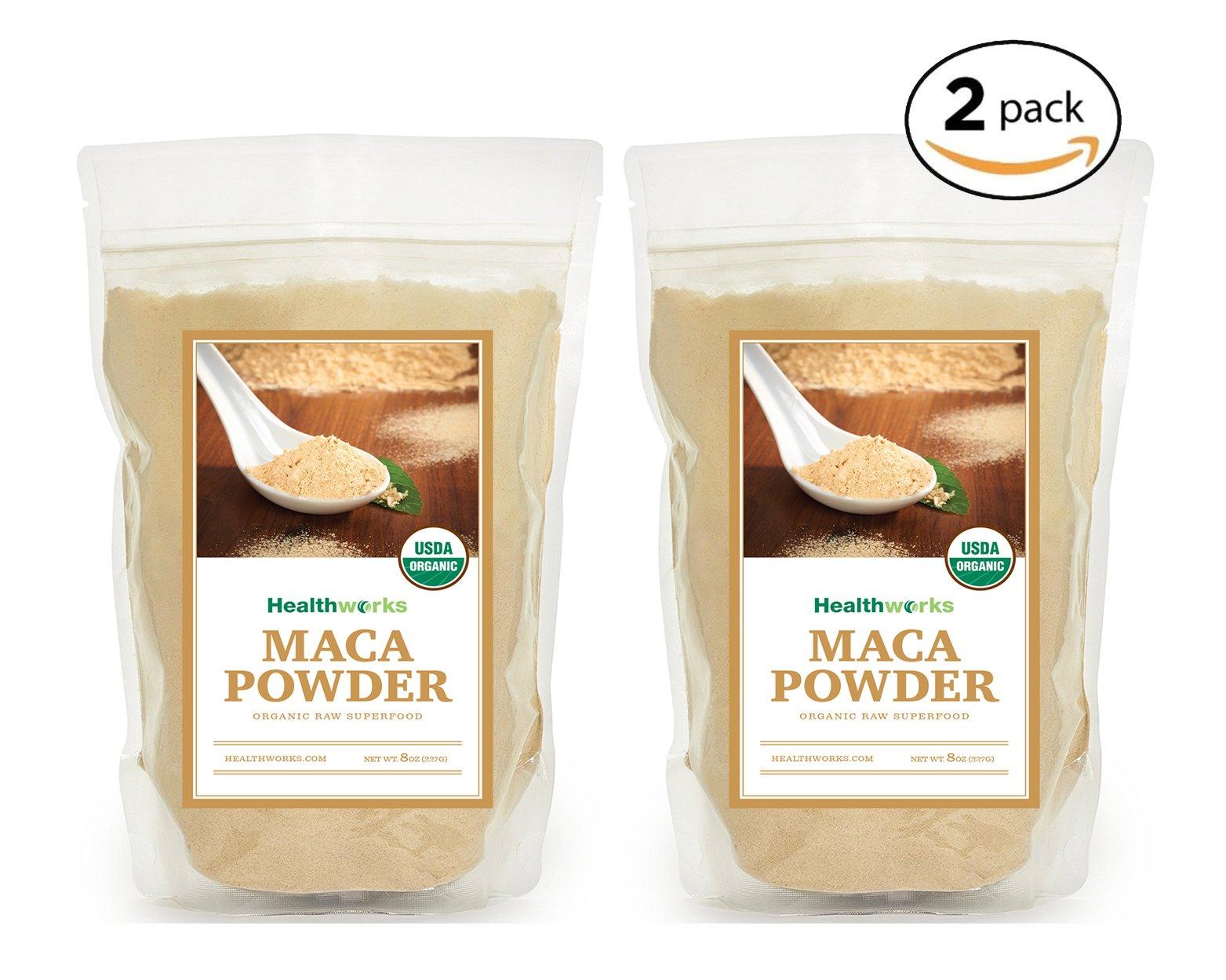 Healthworks Maca Powder Raw Organic, 1lb (2 8oz Packs)