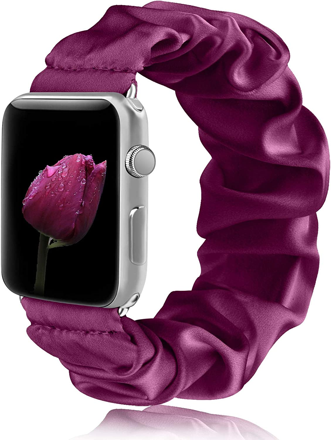 Amzpas Scrunchie Elastic Bands Compatible for Apple Watch Band 38mm 40mm 42mm 44mm Cloth Soft Wristband Bracelet Women Girl Cute Elastic Bands for iWatch Series SE 6 5 4 3 2 1(Purple, 38mm/40mm-M/L)