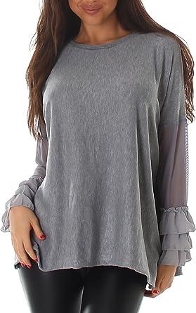 Voyelles Mujer Suéter Camiseta Suéter Suéter Sudadera Cuello Redondo Manga Larga Uni Manga Red Oversize longpulli 42, 44, 46 Gris: Amazon.es: Ropa y ...
