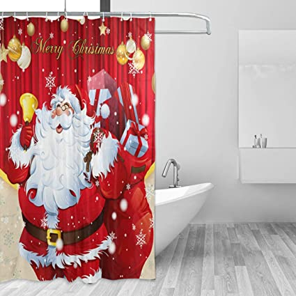 Image Unavailable Amazon.com: ZOEO Christmas Shower Curtain Red Santa Claus Xmas