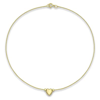 Carissima Gold 9ct Yellow Gold Heart Charm Box Chain Anklet of 24cm/9.5 rm4GopxU57