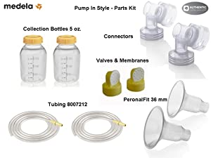 Medela Replacement Parts Kit Pump In Style Original/ Advanced with XXL 36 mm Breast Shield and Tubing #8007212