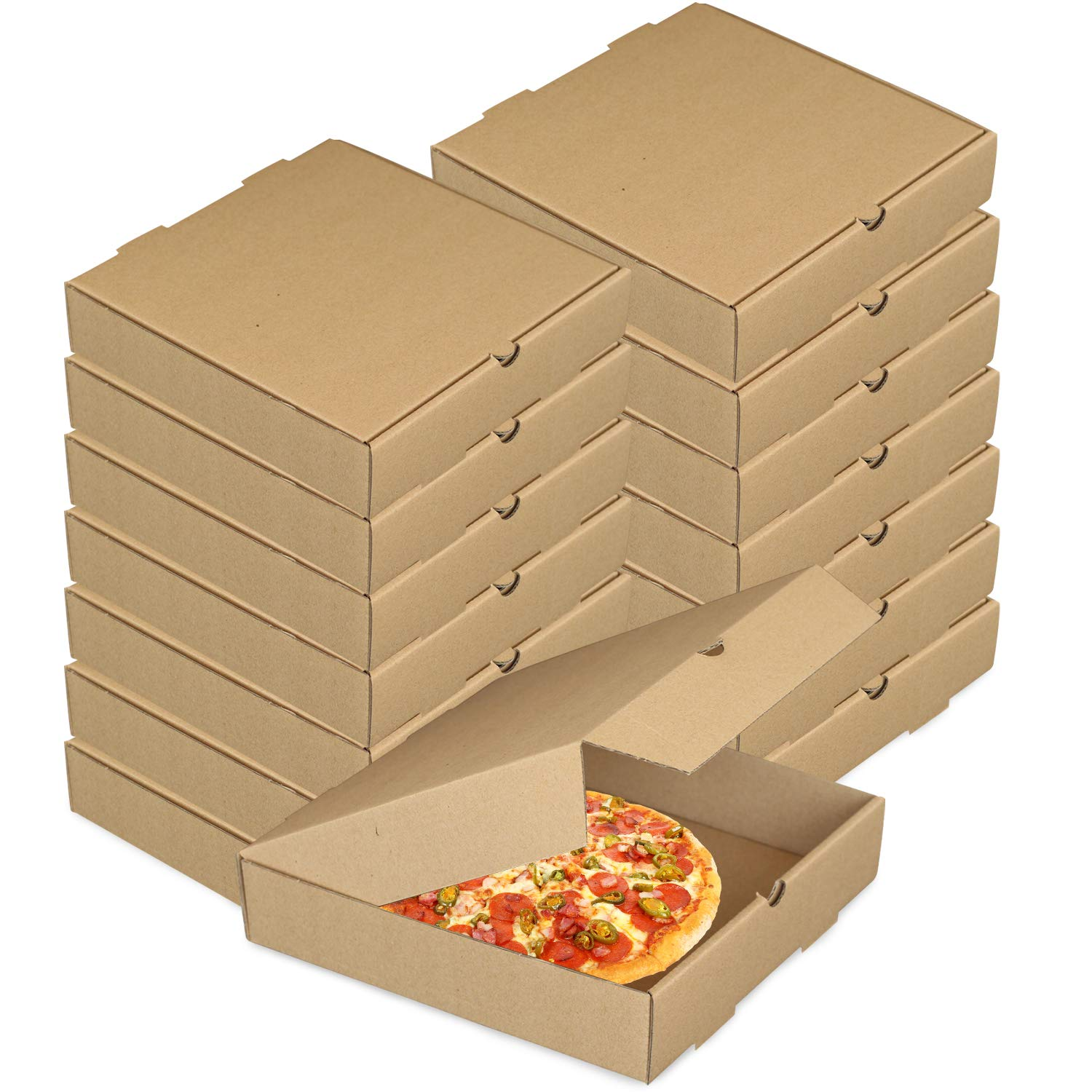 15 Pcs Pizza Boxes, Lainrrew 8 Inch Kraft Corrugated Pizza Boxes Takeaway Cardboard Boxes Take Out Food Containers Packing Boxes for Pizza, Cake, Cookies, Food