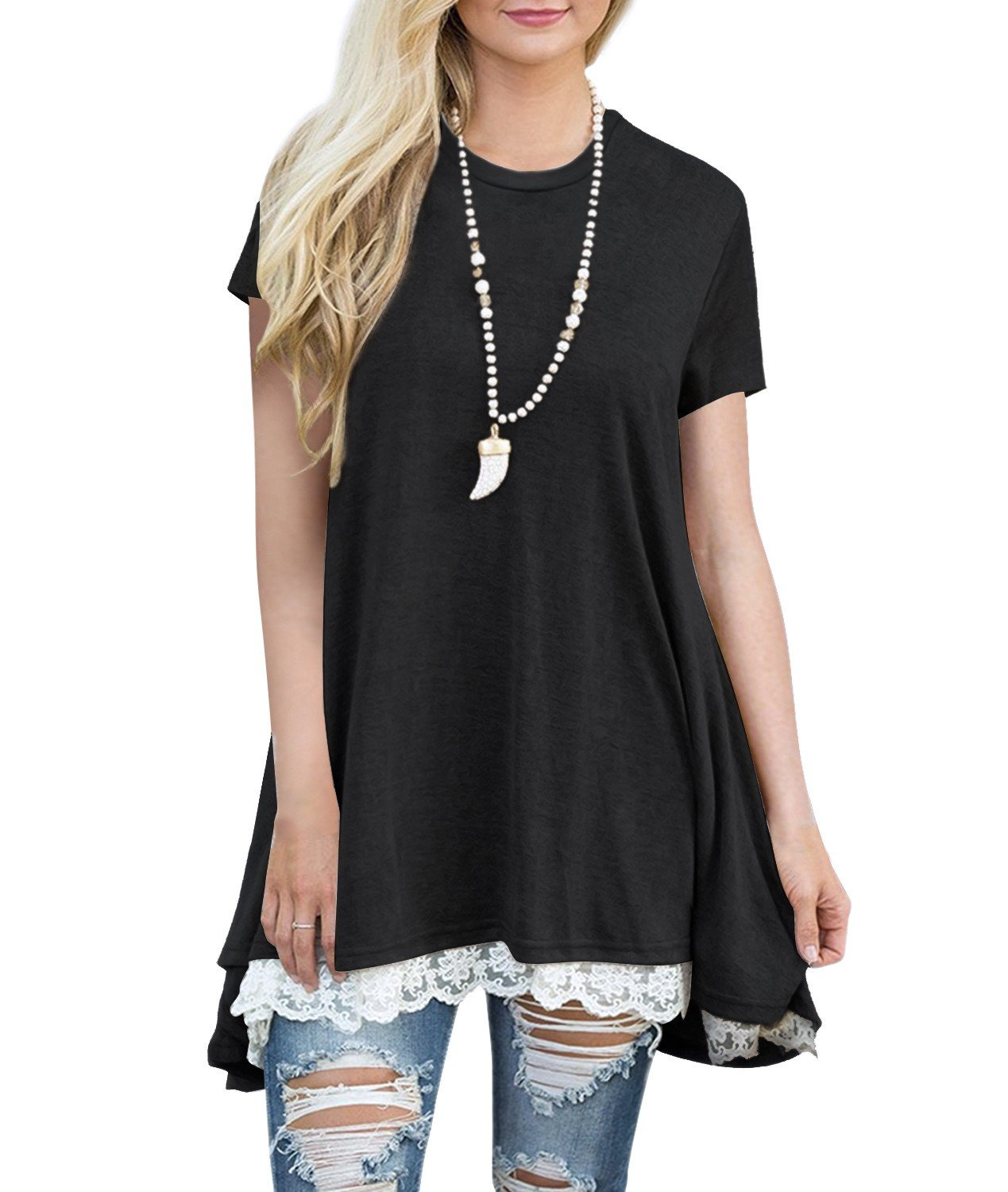 Dewapparel Women's Casual Tops Short Sleeve Lace Tunic Top Blouse