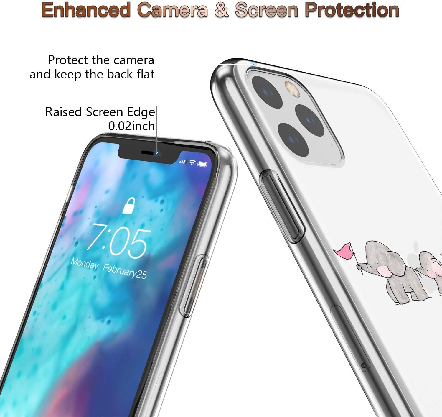 Slim Shockproof Cute Cartoon Elephant Rabbit Design Shell for iPhone 11 6.1 inch Oihxse Compatible with iPhone 11 Clear Case Soft TPU Bumper Protective Phone Cover Cases 8