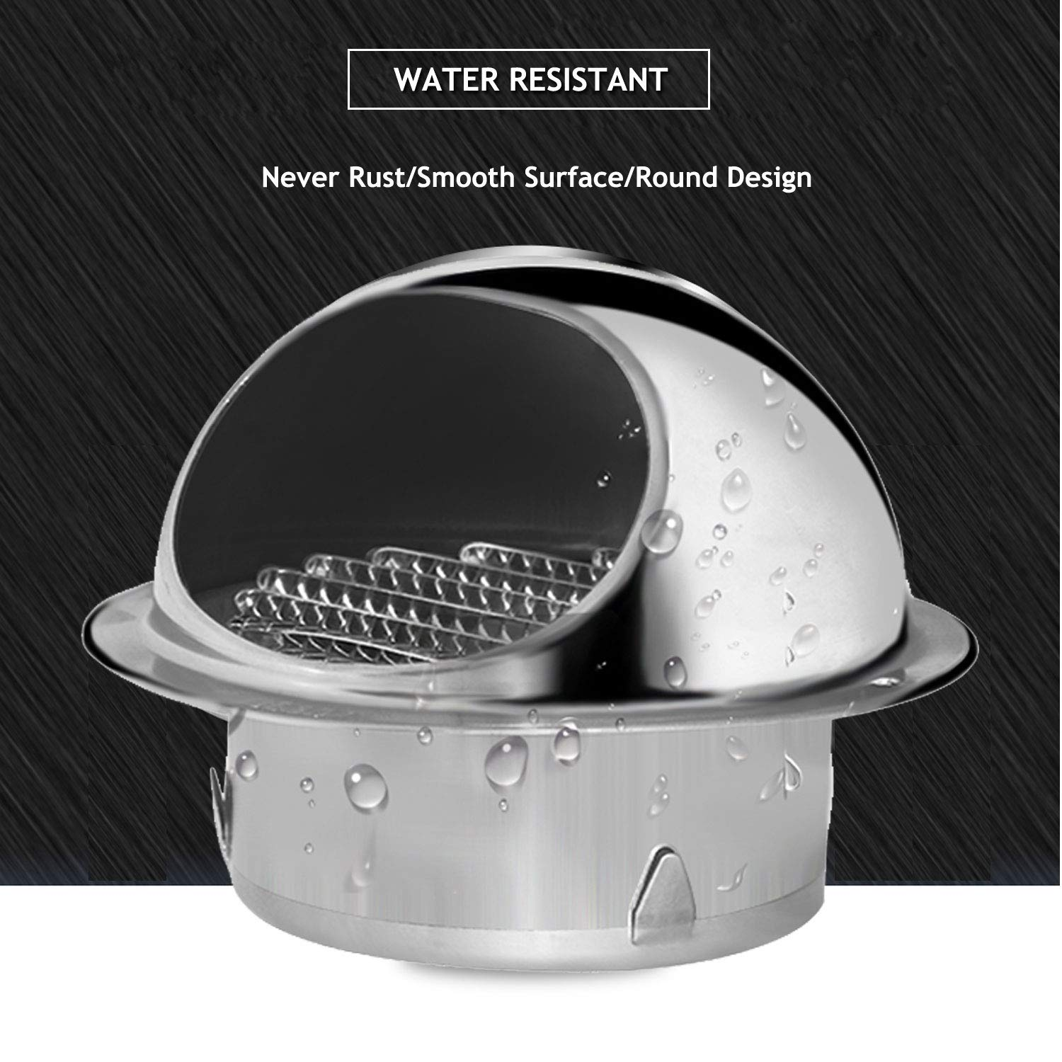 PartsExtra 6inch 304 Stainless Steel Air Vent Sphere Ventilation Grille Ducting External Extractor Hood Wall Mount Exhaust Covers Vents Outlet