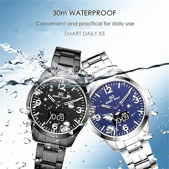 X3 Hybrid Smart Watch Fitness Tracker Bluetooth smartwatch para hombre con actividad de rastreo (pasos/distancia/calorías quemadas)/movimiento de cuarzo 30 ...
