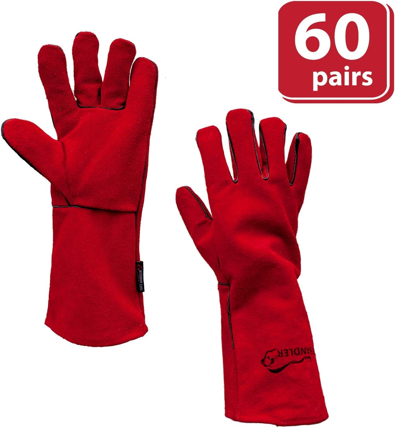 Split Cowhide Leather Leather Palm Heat Resistance SAFE HANDLER Deluxe 14 Welding Gloves with Reinforced Padding 1 Pair 14 inch Full Inside Lining Durable Protection