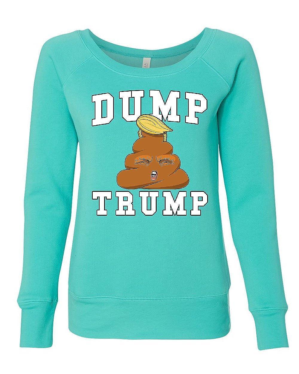 Tee Hunt Dump Trump Womens Sweatshirt Poop Emoji Funny Anti-Trump Parody Impeach