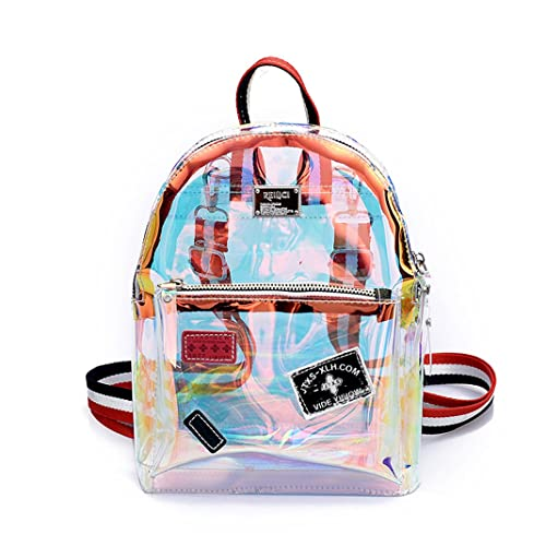 13fc5dc458e Women Transparent Backpack Small PVC Clear Bag Waterproof School Bag for  Teenage Girls (M)