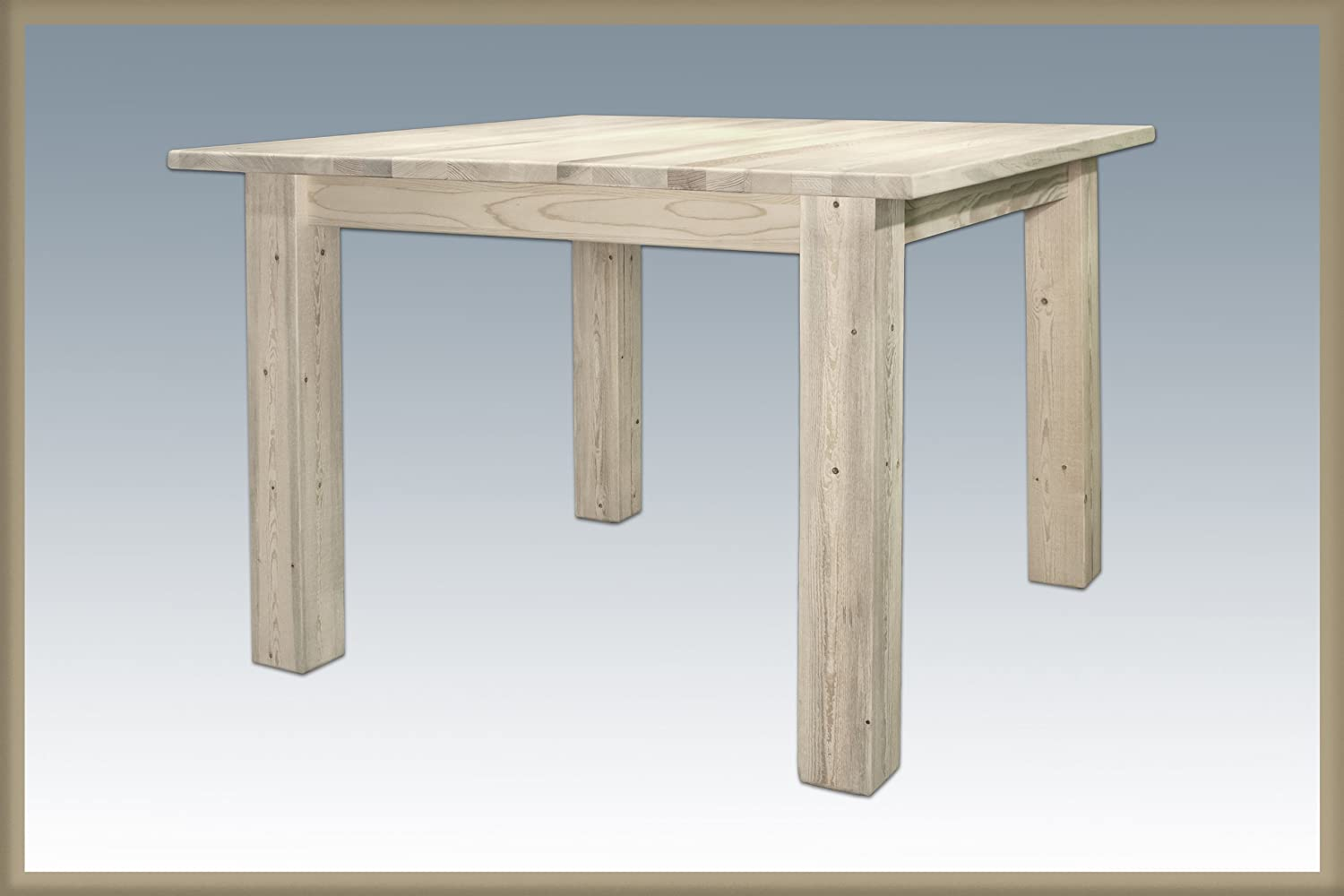 Montana Woodworks Hometead Collection Square 4 Post Dining Table, Ready to Finish