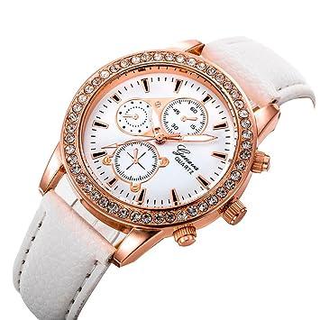 Relojes Pulsera Mujer, Xinan Relojes de Pulsera de Cuarzo de lujo de Banda analógica de Cuarzo (Blanco): Amazon.es: Deportes y aire libre