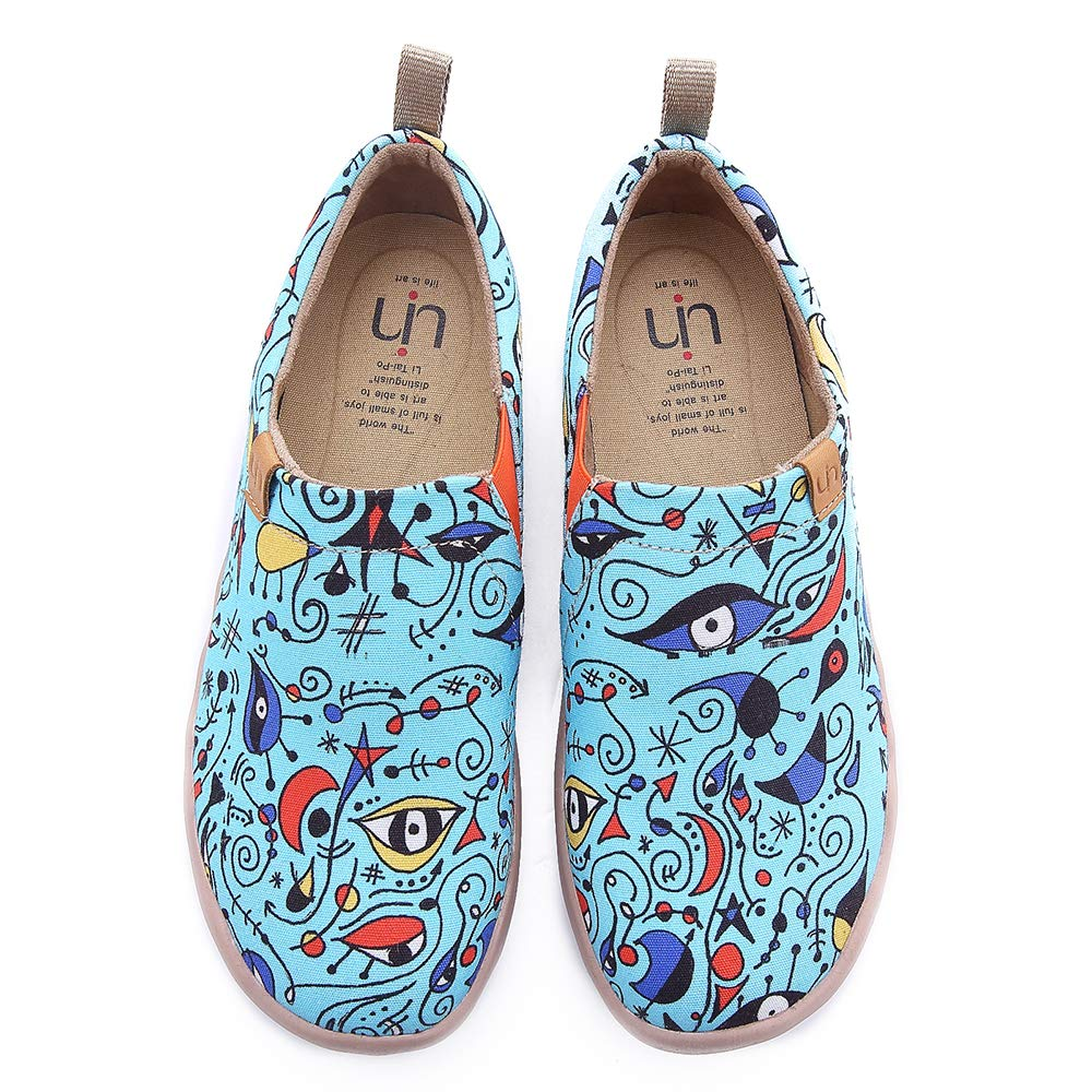 - UIN Women's bluee Ocean Painted Canvas Loafer shoes bluee