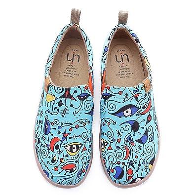 UIN Damen Blau Ocean Gemalte Canvas Loafer Schuhe Blau   Amazon  Blau ... d61a2f