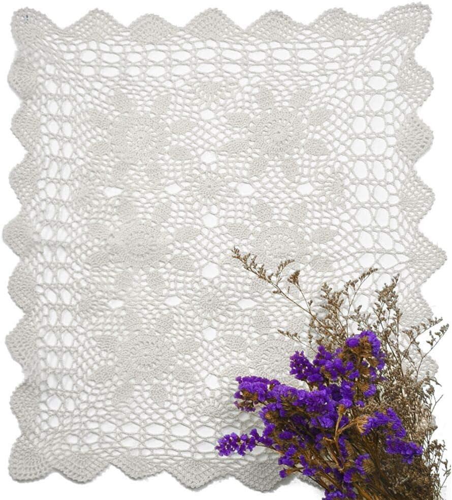 yazi Tablecloth Handmade Crochet Cotton Lace Rectangular Table Placemat Sofa Doilies White Color 16''x24''