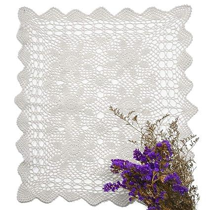 Tovagliette Yazi bianche, fatte a mano all\'uncinetto, centrini di pizzo di  cotone per divano, centrini, asciugamani, per decorare il soggiorno, 40 x  ...