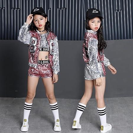 b4f828b4efb7 Dreamowl Girls Paillette Glitter Dancewear Hip Hop Jazz Sequin Dance ...