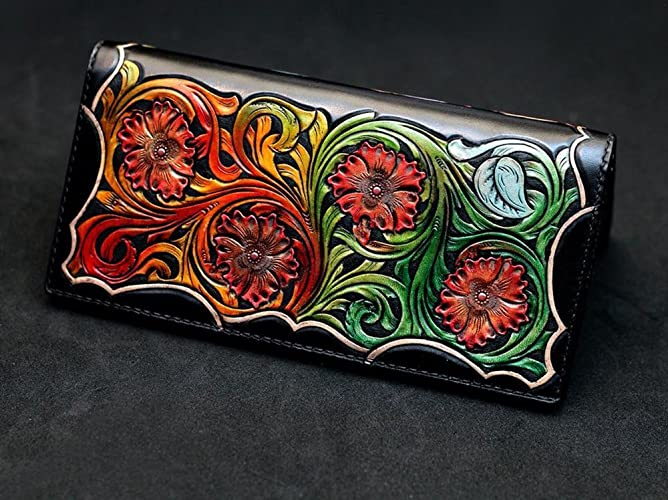c1d8745b1 Amazon.com: Floral Sheridan Leather Carving 3D Genuine Leather Handmade  Passcase Long Wallet: Handmade