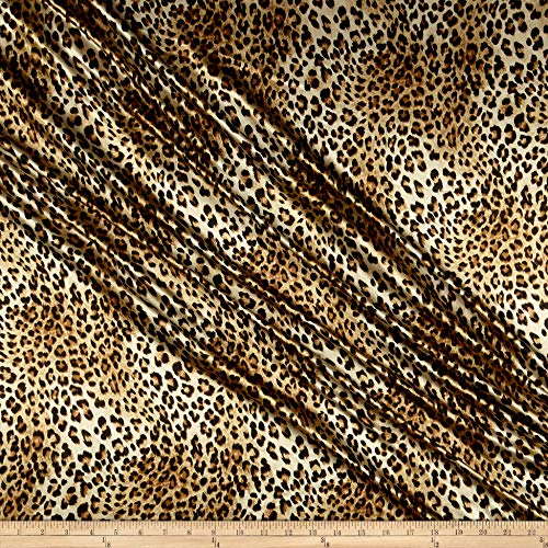 (Telio Tahari Stretch Satin Animal Print Gold, Fabric by the Yard)