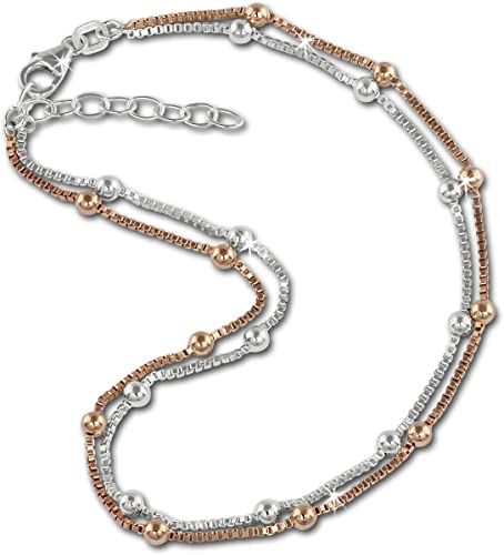 Cadena de bolas tobillera, doble, bicolor, de SilberDream, una bañada en rosa y otra de plata de ley 925