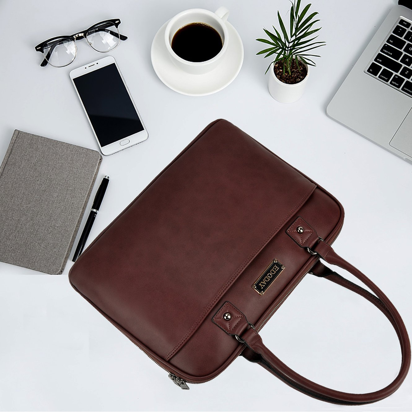 Laptop Bag for Women,15.6 Inch Laptop Tote Bag for Bussiness Work,Most Convenient Full Open Zipper Design[L0009/Coffee] by EDODAY (Image #4)
