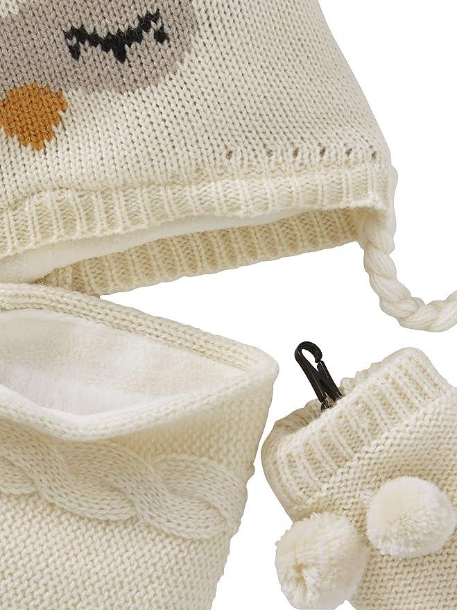 VERTBAUDET Chapka + snood + moufles bébé fille façon peluche Ecru 3  6M -  60  67CM Décoration de Noël 1ef6847fb58