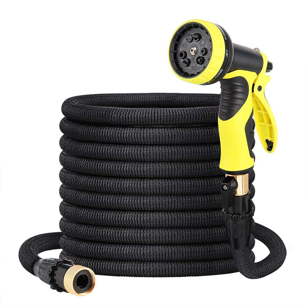 Komln Garden Hose, 50ft Latex Core with 3/4 Solid Brass Fittings, Lightweight Expandable Magic Water Hose with 9-Pattern High Pressure Spray Nozzle for All Your Watering Needs