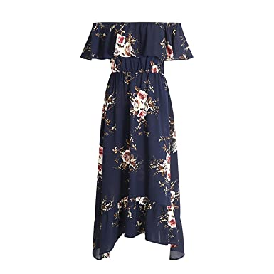 CannerCA Fashion Off shoulder ruffle print long dress Women floral boho dress elastic waist maxi dresses
