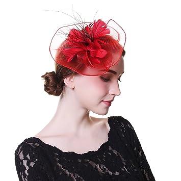 f80200a11c6e8 Fascinator Hat Mesh Flower Headwear – AWAYTR Feathers on The Top Woman Mesh  Derby Church Cap