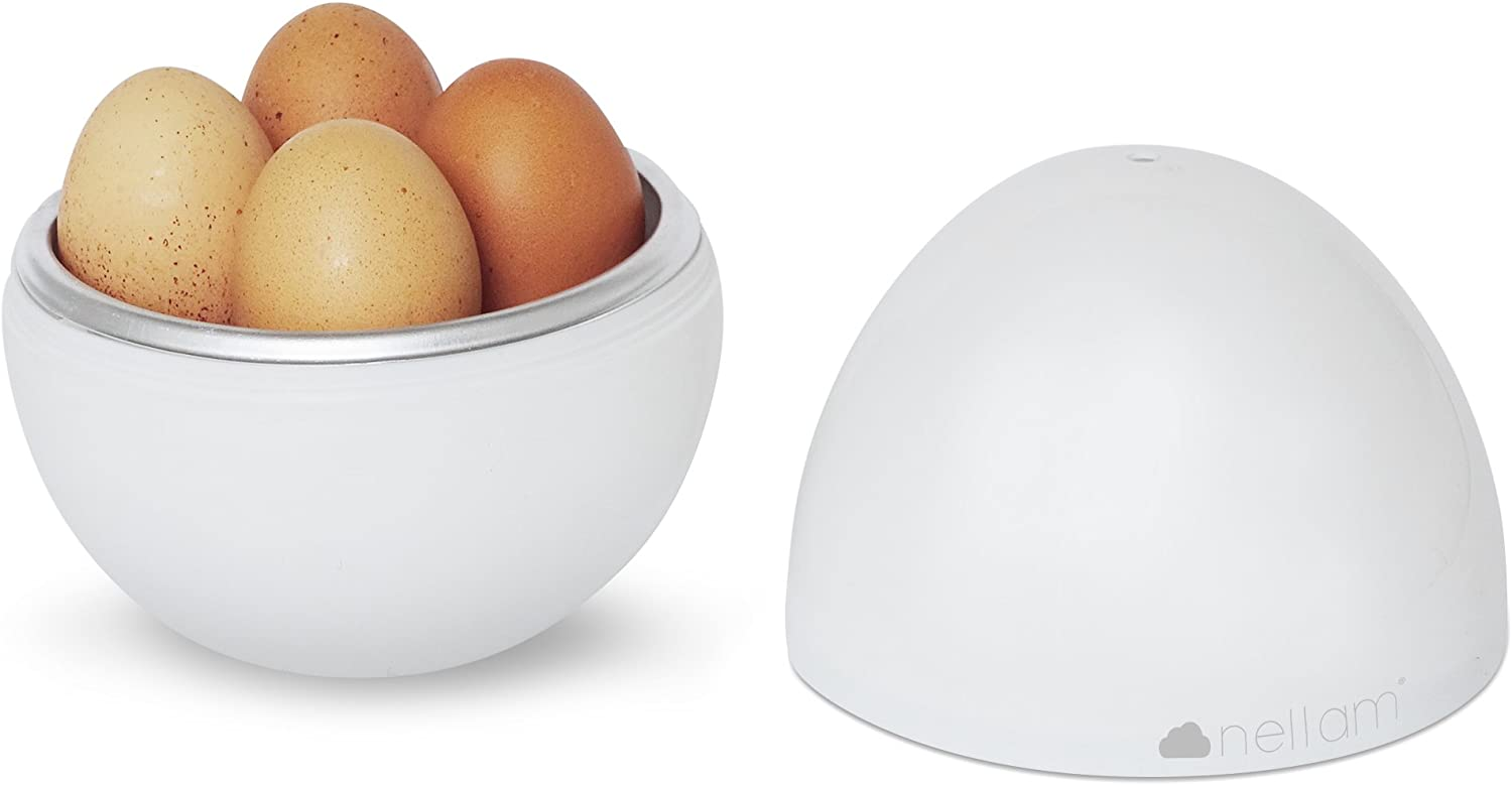 Nellam Microwave Egg Cooker – 4 Eggs Cooker and Egg Boiler – Hardboiled Egg Cooker and Easy Boiled Egg Maker Poacher Steamer