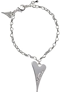 Miss Dee silver plated delicate chain bracelet with a hollow heart shaped pendant and a smaller solid heart