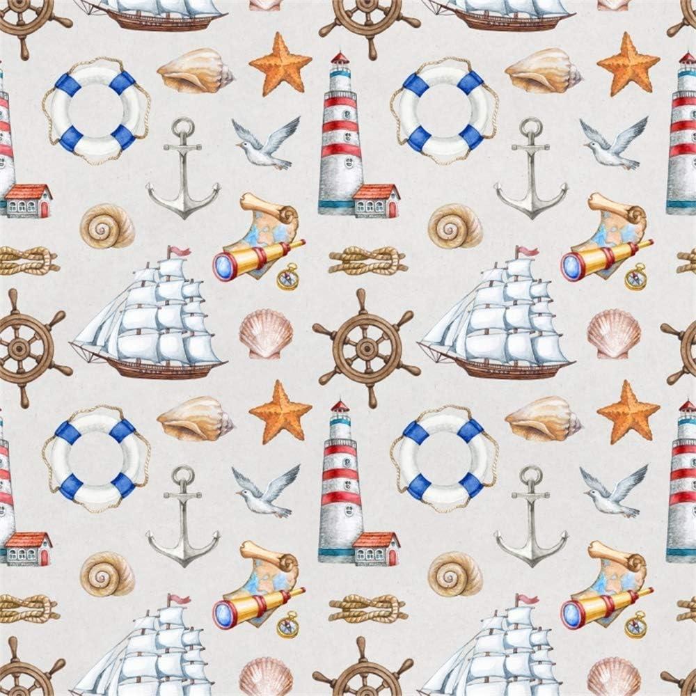 GoHeBe 10x10ft Marine Theme Vinyl Photography Background Rustic Rudder Sailboat Lighthouse Life Ring Shells Anchor Telescope Illustration Backdrop Boy Birthday Party Banner Cake Smash Wallpaper