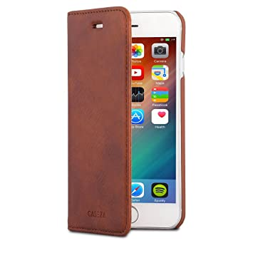 CASEZA Etui iPhone 6   6s Marron Cuir Végétalien Oslo Housse Folio à Rabat  Portefeuille Livre 6ae3340306a5