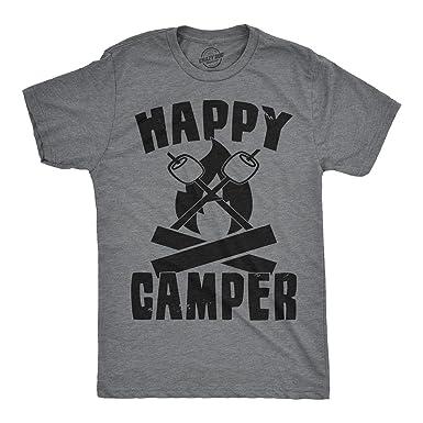 4e4dd06833 Mens Happy Camper Shirt Funny Camping Shirts Cool Vintage Tees Retro Design  (Grey) S