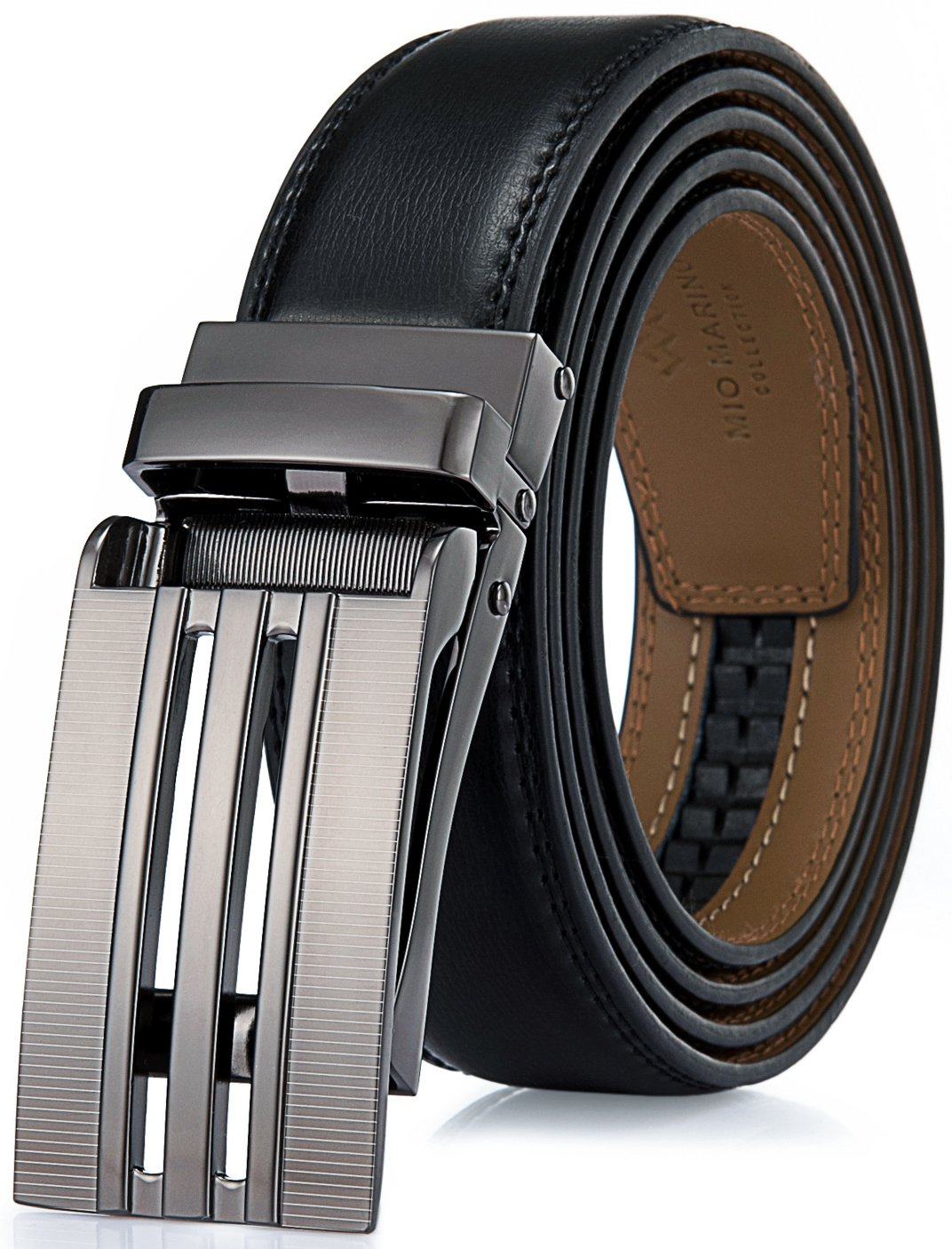 "Marino Avenue Men's Genuine Leather Ratchet Dress Belt with Linxx Buckle - Gift Box (Panel Striped - Black, Adjustable from 38"" to 54"" Waist)"