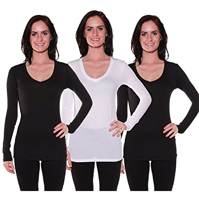 Active Basic Women's Long Sleeve V-Neck T Shirts 3 Pack(2 Blk/1 Wht-S)